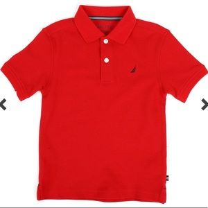 BNWT Nautica Boy's Anchor Stretch Deck Polo Red
